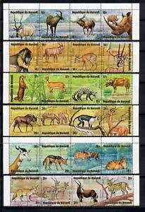 1975 African Animals 6 Strips of 4 Burundi  Full Issue CTO OG