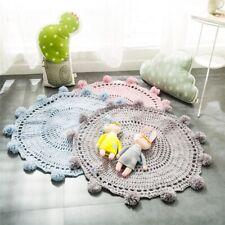 Handmade Soft Kids Knitted Round Rug Floor Mat Carpet Living Room Bedroom Decor