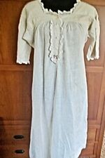 Antique Handmade Linen Nightgown with Lace Trim and Red Initials