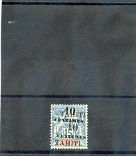 TAHITI Sc 29a(YT 33b)*F-VF LH, 1903 10c/15c BLUE, DOUBLE SURCHARGE ERROR, $200