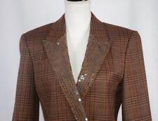 Mondi Women's Blazer Sz 34 Vintage Germany Wool 4 US Brown Window Pane Shimmer