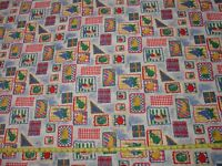 "VTG Summer Fruit Kitchen 2 YDS Cotton Fabric Home Decor Tablecloth 60"" wide"