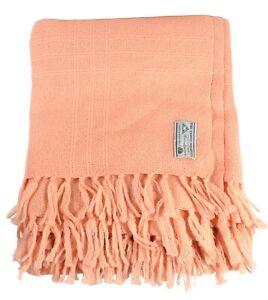 """Three Weavers Houston Texas 100% Virgin Wool Pink 72"""" x 50"""" Throw Blanket"""