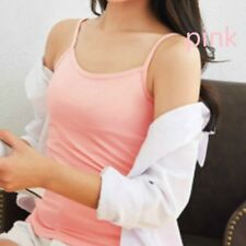 Lady Spaghetti Strap Camisole Vest Top Sleeveless Cotton Casual Black White Slim