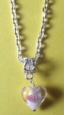 collier chaine argenté 41 cm avec pendentif coeur lampwork blanc