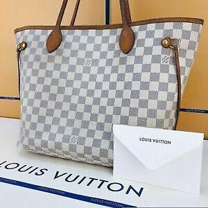 Authentic Louis Vuitton Neverfull MM Azur Shoulder Tote Bag