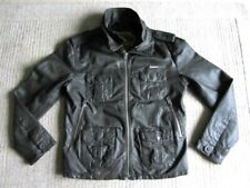 Stunning SUPERDRY Leather Biker Style Jacket Size Large super dry brad mcqueen