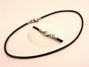 ~Custom Made~STAINLESS STEEL 3MM Dark Brown LEATHER Choker Cord NECKLACE