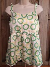 Juicy Couture Women Blouse 8 Silk White Green Yellow Polka Dot Ruffle Sleeveless