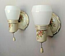 Pair Vintage PORCELIER Porcelain Sconces w/ Gold Trim, Opal Deco Shades, rewired