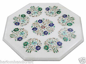 """17"""" White Marble Side Top Coffee Table Rare Turquoise Floral Inlaid Decors H2323"""