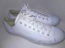 Converse Chuck Taylor Leather Low Top Sneaker White Monochrome AT866 Sz 13