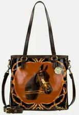 New ListingPatricia Nash Lundy Equestrian Horse Bust Leather Convertible Crossbody Tote
