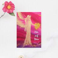 """Genesungskarte """"Hör auf Dein Herz"""" Beste Wünsche Grusskarte, Postkarte"""