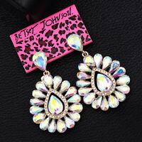 Betsey Johnson Jewelry AB Crystal Flower Earbob Dangle Women's Wedding Earrings