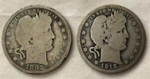 2 Silver Barber Quarters From Col Jack Novaks Estate 1892 & 1915 Free USA Ship
