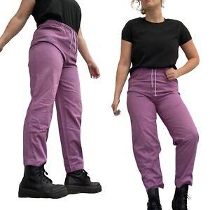 Vintage 80s Trousers Fits 10 12 UK High Waist Purple Cotton Crop Leg Slacks Cool