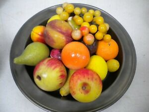 Vtg Antique 18 piece lot Italian Alabaster Stone Fruit Cherries Pears Fig Lemon