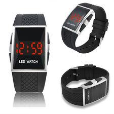 Unisex Sport LED Quarz Armbanduhr Silikonband Digital Wasserdicht Uhren Schwarz