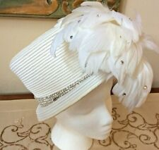 Vintage Bellini Originals Hat Women's Derby Church Feathers Rhinestone White