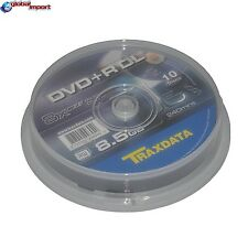DVD+R DL TRAXDATA DUAL DOUBLE LAYER 8X 8.5GB 240M CAMPANA SPINDLE CAKE BOX 10PZ