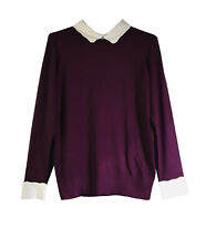 Womens White Collar and Sleeves Formal Casual Office Jumper Blouse Shirt Top