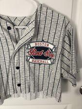 Boston Red Sox Vintage MLB Pin Stripe Cropped T Shirt Size Large