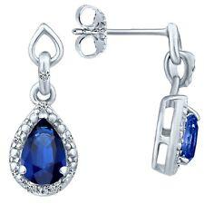1.18 tcw Pear Cut Natural Sapphire & Round Diamond Drop Earrings 14k White Gold