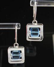 Design 925 Silber OHRHÄNGER mit Swarovski Stein Aquamarine, EDEL !!!
