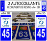 2 stickers plaque immatriculation auto TUNING DOMING 3D RESINE REGION CENTRE 45