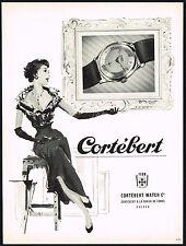 1950's Old Vintage 1953 Cortebert Watch Co. Spirofix Swiss Watch Art Print AD