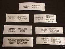 'Fabric Contents' labels. Informative garment labels