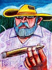 CUBAN CIGAR MAN PRINT poster guyabera shirt tobacco panama hat cohiba smoking