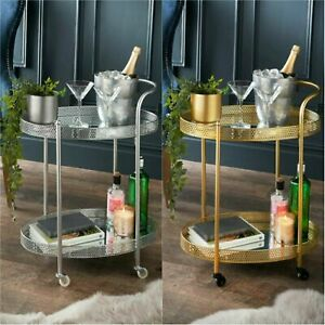 NEW ELEGANT STYLE MIRRORED GLASS SHELVES DRINK COFFEE TEA TROLLEY GOLD / SILVER