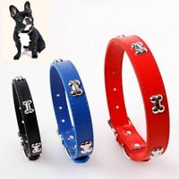 Adjustable Pet Dog PU Leather Collar Engraved Puppy Cat Buckle Neck Strap Soft
