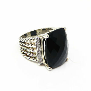 NYJEWEL David Yurman Wheaton Ring With Black Onyx And Diamonds
