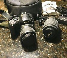 NIKON D40 CAMERA w/18-55mm f/3.5-5.6G lens PLUS NIKKOR E 55-200mm ZOOM 4-5.6G