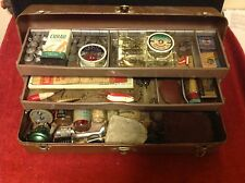 Lot Vintage Tackle Box Fishing Lures Pflueger Reel Wood Sea Bat Oil Glasscaster