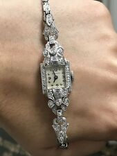 Ladies Vintage Antique Estate Art Deco 14K White Gold Diamond Watch