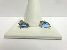 blue topaz and diamond earrings 10kt yellow gold pierced post bk wgt 1.9 grams