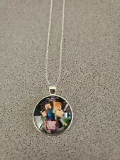 MINECRAFT VIDEO GAME UNISEX SILVER PENDANT NECKLACE ADULT / KID NEW ORGANZA BAG
