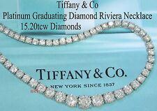 "TIFFANY & CO PLAT DIAMOND RIVIERA LINE NECKLACE ~ 15.20tcw ~ 117 DIAMONDS  15¾"""