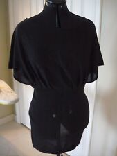 LADAKH womens short sleeve casual top/ tunic dres black with glitter Size 12 EUC