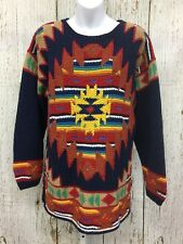 Native American Sz M Indian Hand Knitted National Wildlife Womens Tunic Sweater
