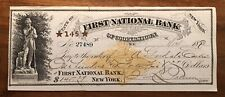 January 14th, 1880 First National Bank of Coopertown NY Check for $145.29