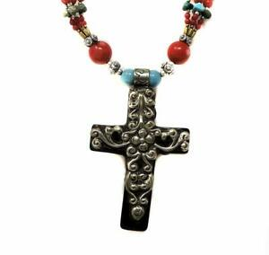 Tibetan Necklace Silver Cross Repoussee SALE WAS $42.00