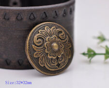 10PC 32X32MM Antique Brass Western Decor Flower Leathercraft Saddle Conchos Set
