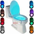 2 Motion Sensor LED Toilettendeckel WC Sitz Klobrille WC RGB Nachtlicht 8 Farben