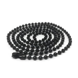 30 Inch Black Stainless Steel Ball Chain 2.4 mm Military Spec for Army Dog Tag