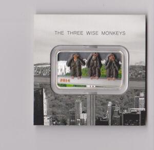 Tanzania 2014 Three Wise Monkeys 1500 Shillings 1oz Colour Silver Coin Bar,Proof